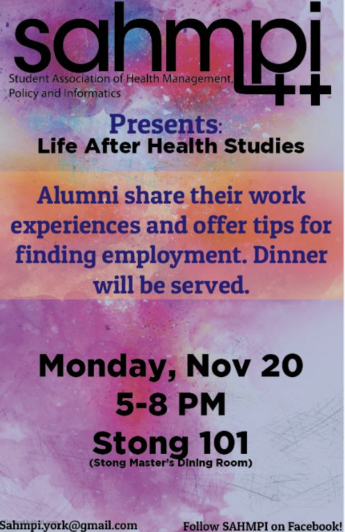 Life After Health Studies: Alumni share their work experiences and offer tips for finding employment @ Stong College Master's Dining Room #101 | Toronto | Ontario | Canada