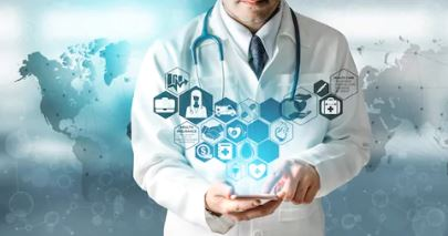 Doctor working on a mobile device